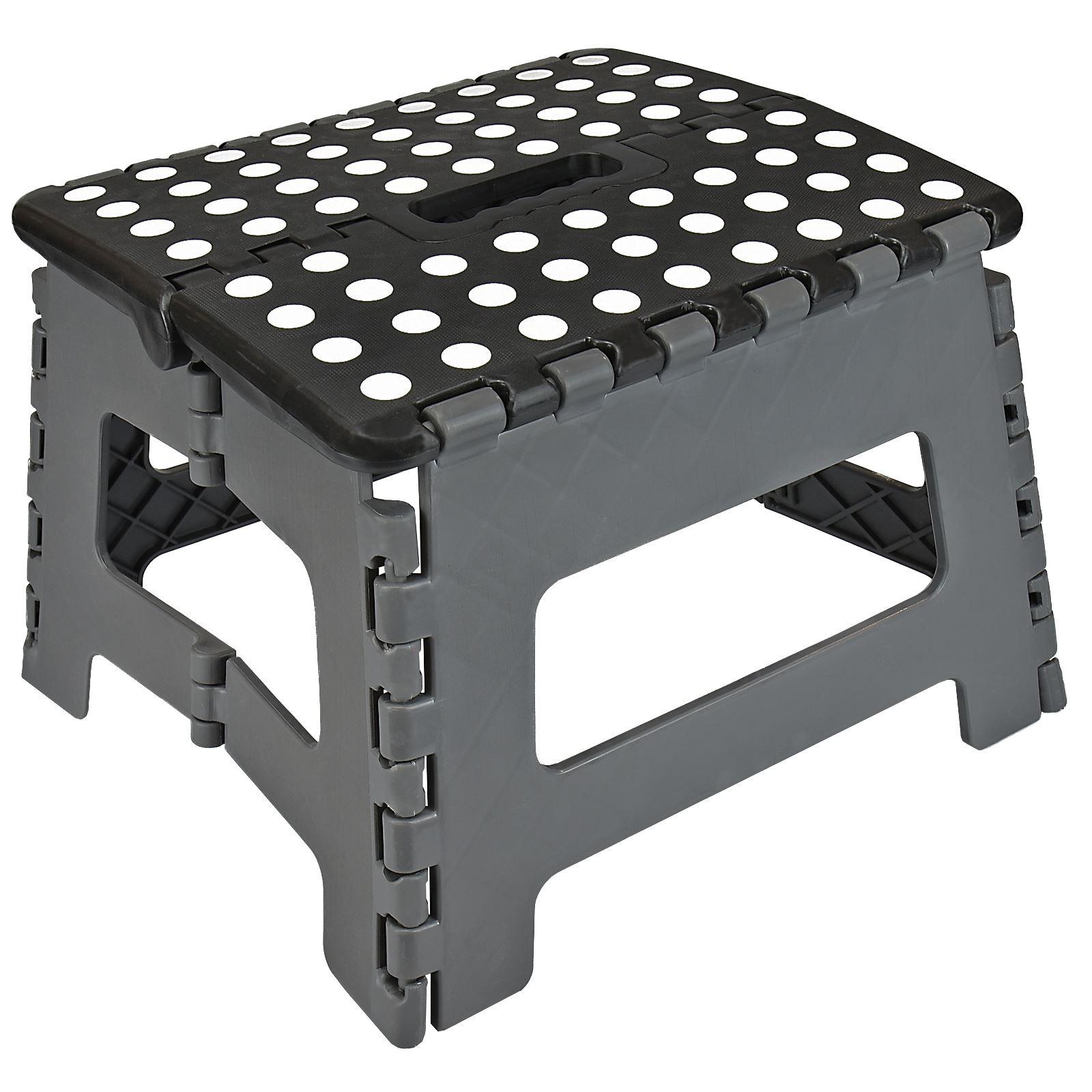 plastic multi purpose home kitchen folding step stool foldable easy storage ebay. Black Bedroom Furniture Sets. Home Design Ideas