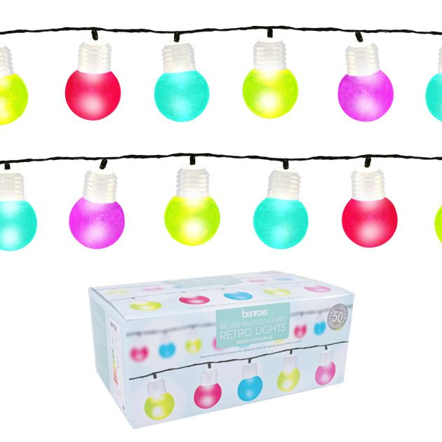 Indoor Retro String Lights : 50 LED Retro Light Bulb String Multi Colour White Home Garden Indoor Outdoor eBay