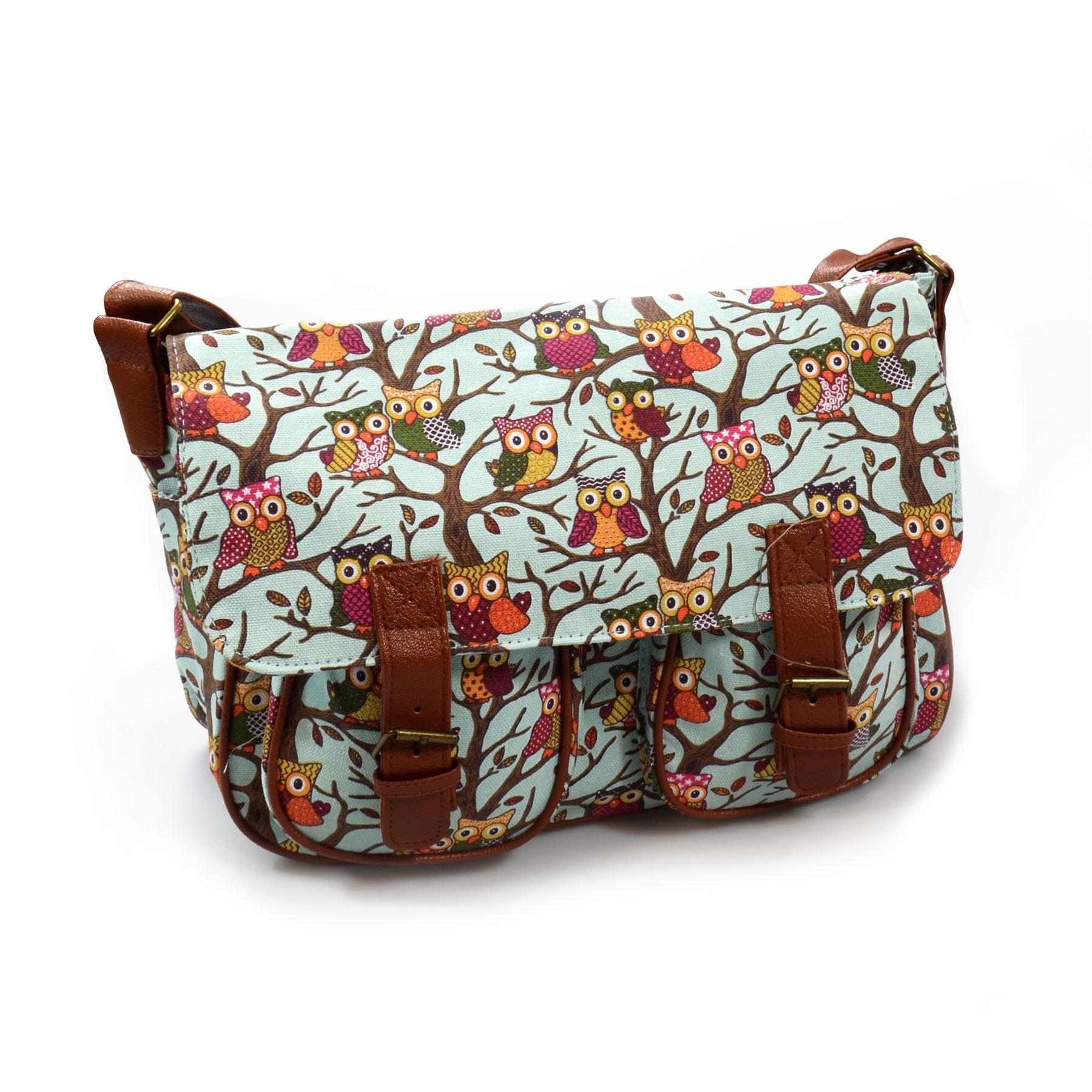 ... Fashion-Owl-Messenger-Bag-Cross-Body-Tote-School-Travel-Girls-Satchel