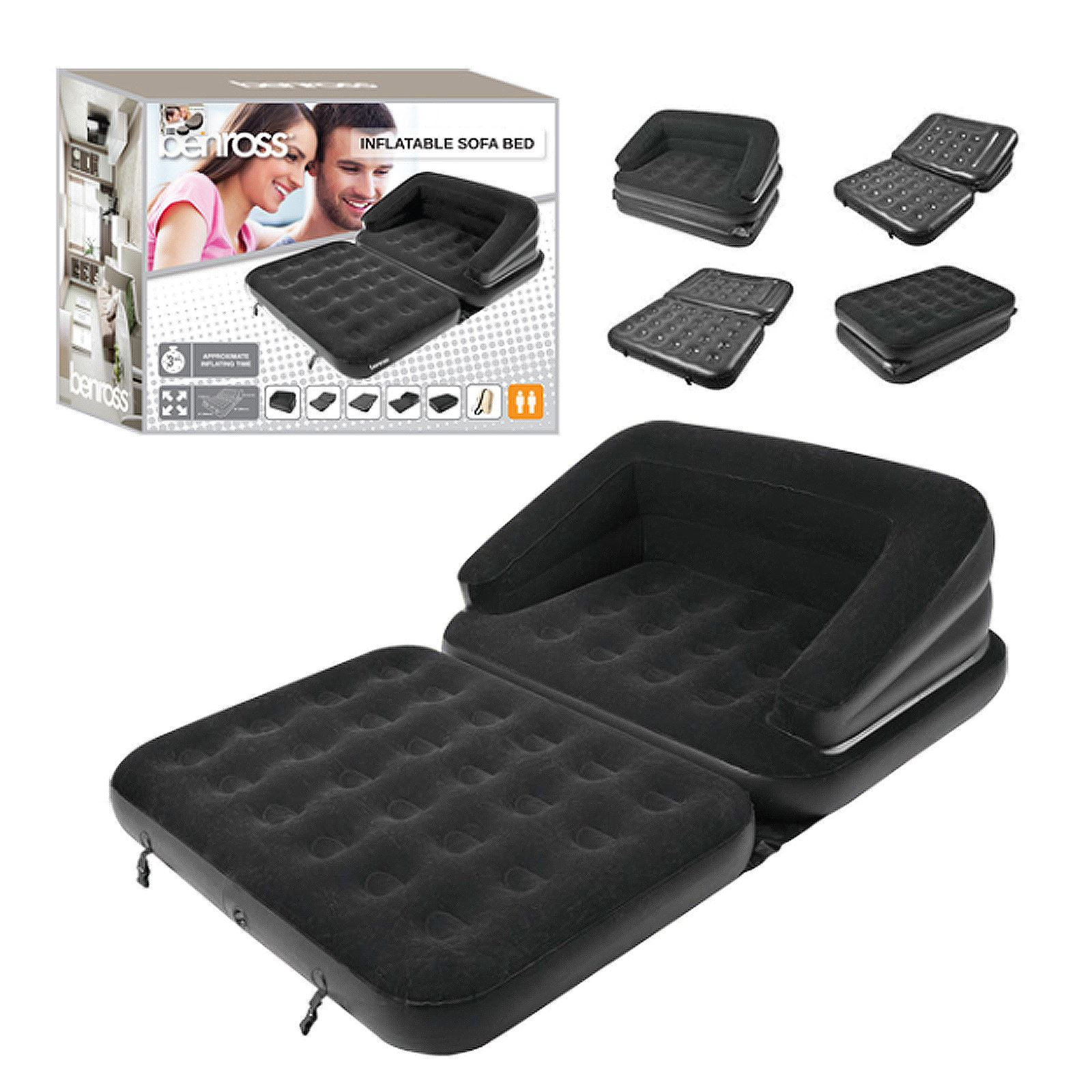 Inflatable Sofa Mattress: 5 In 1 Inflatable Sofa Bed Double Flocked Couch Relaxing