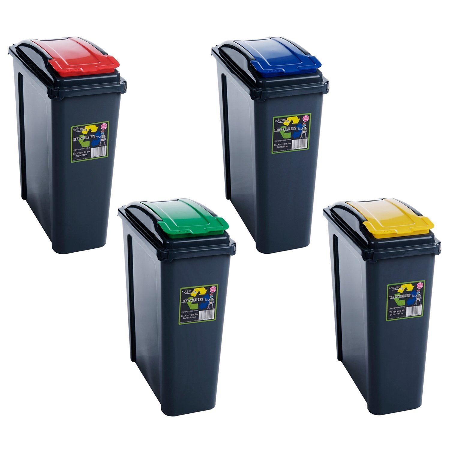 Kitchen Waste Bins: 25L 50L Plastic Recycle Recycling Bin Lid Kitchen Rubbish