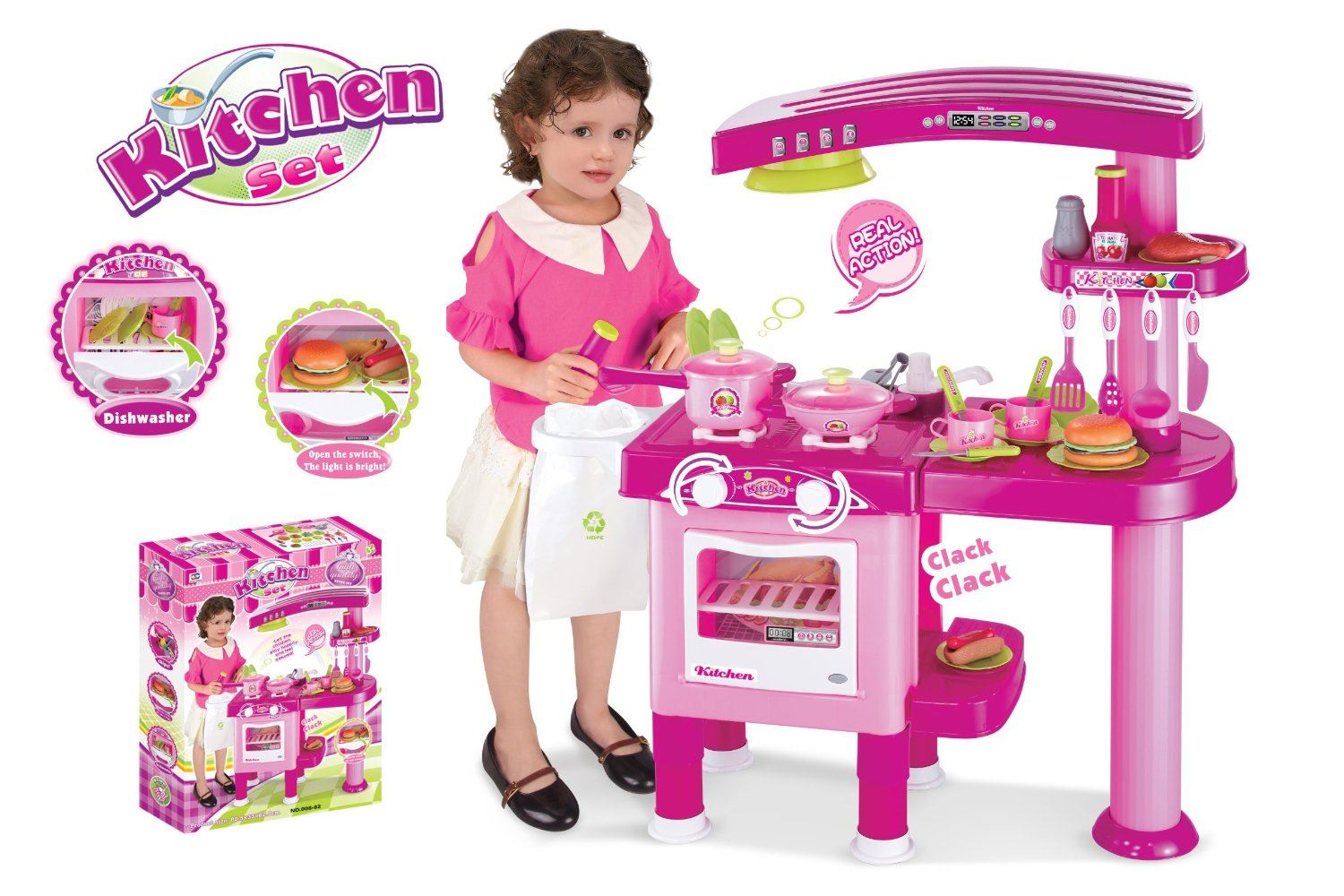 New large childrens kids kitchen cooking role play cooker for Kitchen set game