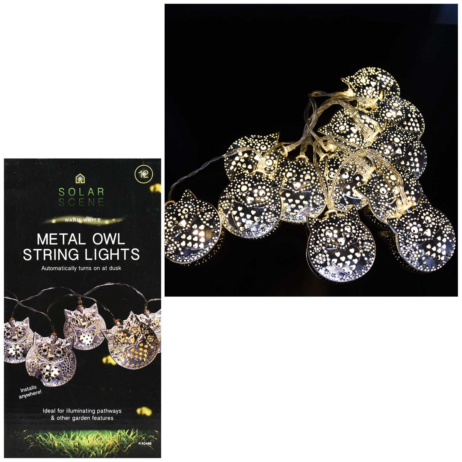 Metal Globe String Lights : 12 Led Solar Garden Lights String Outdoor Fairy Metal Globe Ball Owl Round New eBay