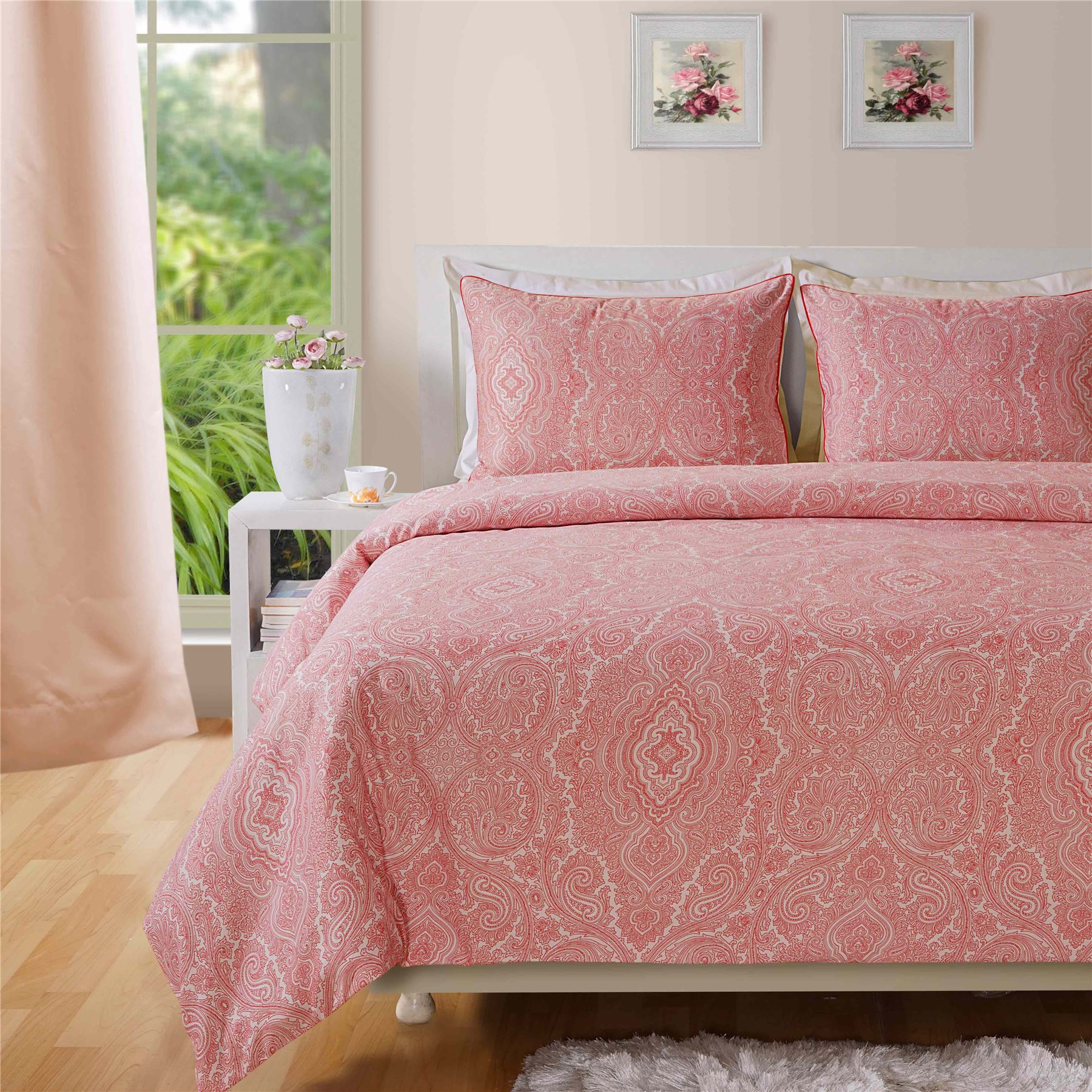 400tc luxury cotton rich paisley printed duvet cover for Luxury cotton comforter sets