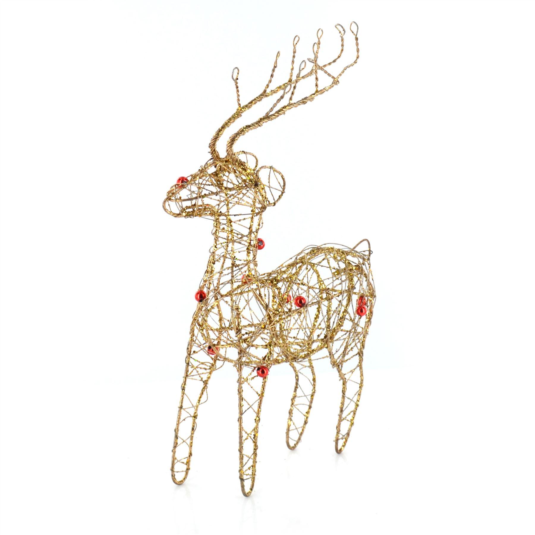 New Glitter Wire Christmas Reindeer Decoration Sparkle ...