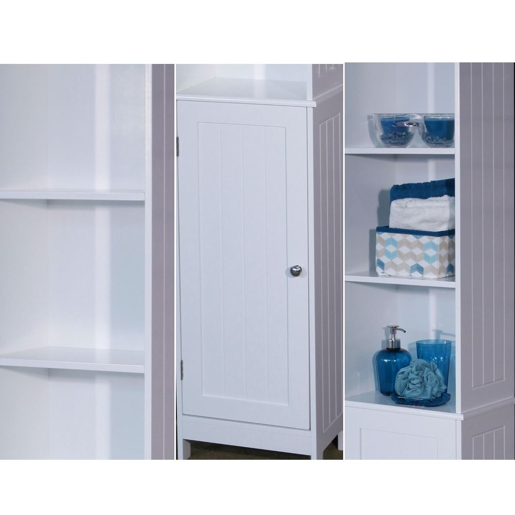 Tall White Wooden Bathroom Storage Cabinet Freestanding Cupboard Unit Shelves Ebay