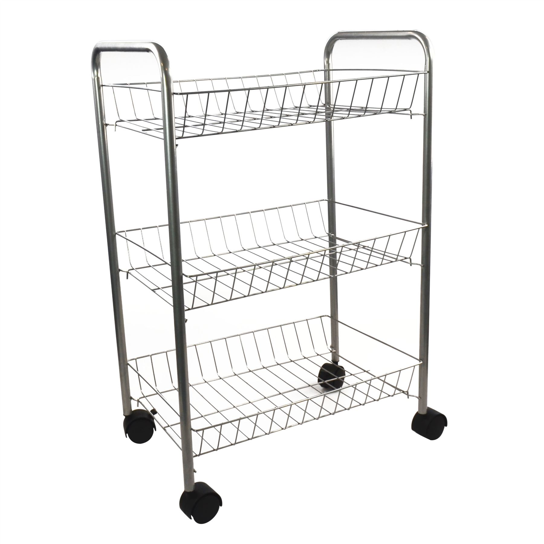 3 Tier Metal Kitchen Storage Trolley Ve Able Fruit Cart Drawer