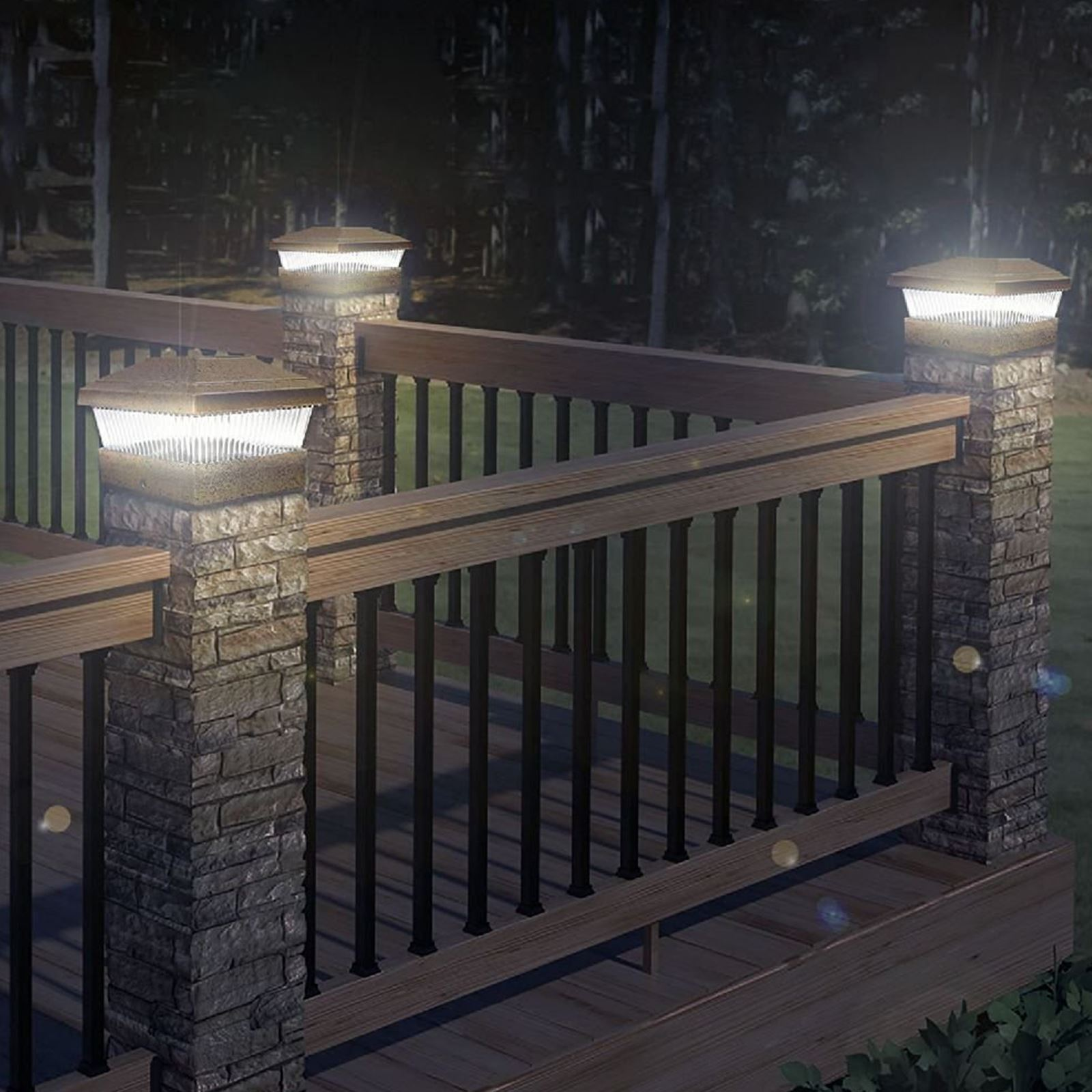 Solar led powered light garden deck cap fence lamp post for Garden decking lights uk