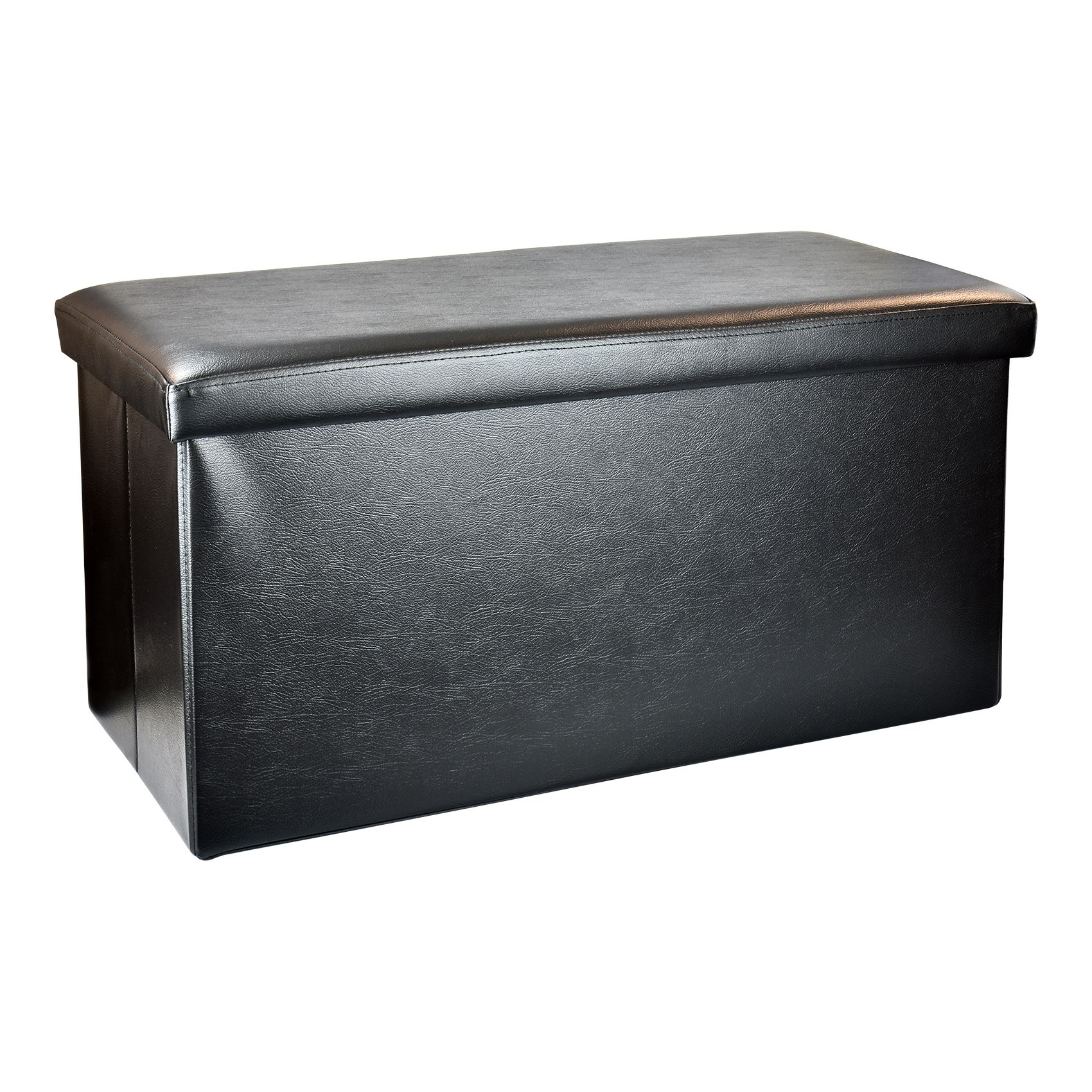 Large folding faux leather ottoman storage chest blanket for Storage ottoman seat