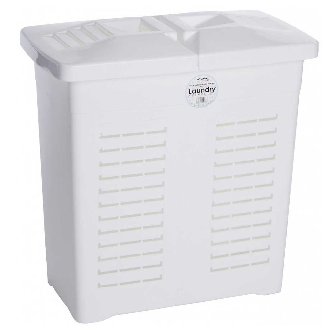 Wham plastic 75l laundry linen hamper basket bin with twin lids clothes washing ebay - Plastic hamper with lid ...