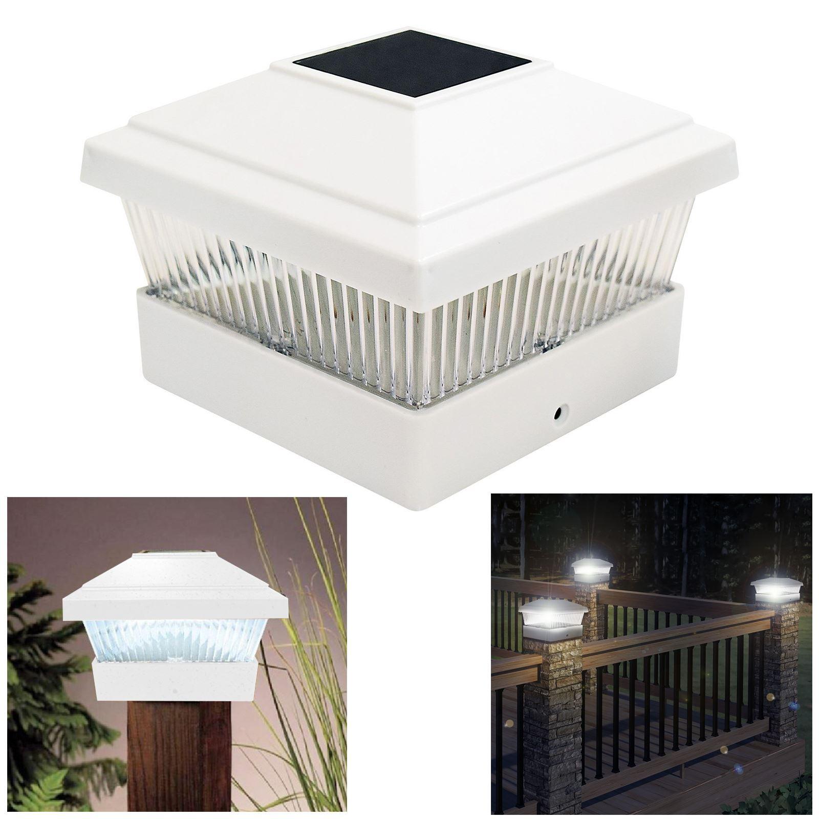 Solar led powered light garden deck cap post square fence for Garden decking lights uk
