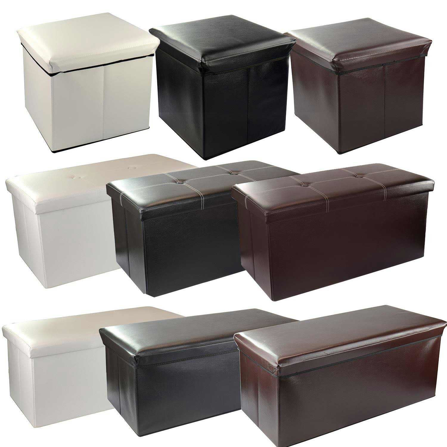Kids Collapsible Ottoman Toy Books Box Storage Seat Chest: Large Folding Faux Leather Ottoman Storage Chest Blanket