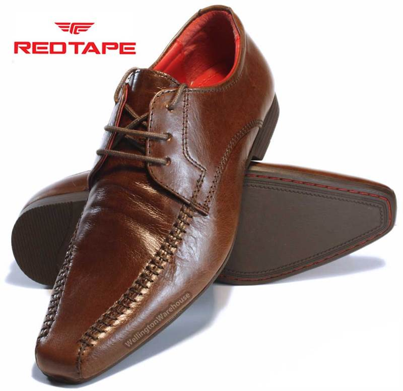RedTape Farnley Kids Junior Boys Black or Brown Leather Lace Up ...