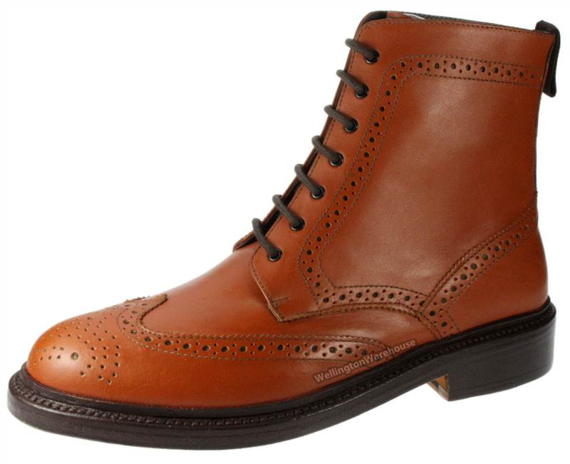 harewood mens brown all leather welted lace up brogue