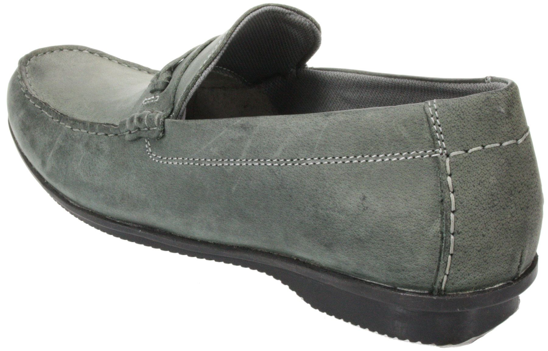 mens vagas brown grey slip on leather casual