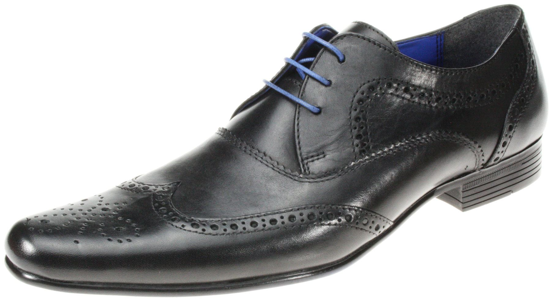 elrick black leather lace up smart formal brogue