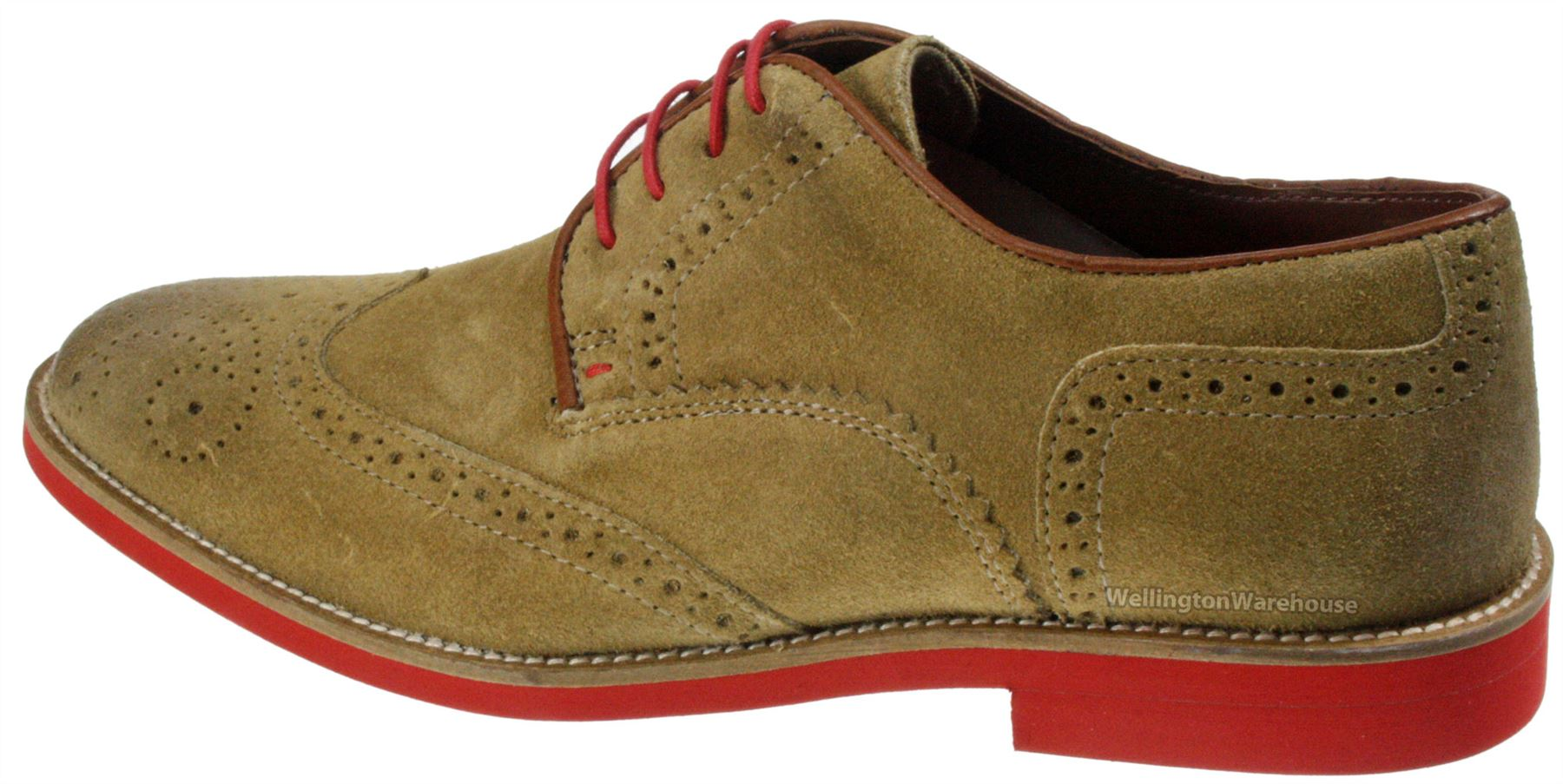 Red Tape Mens Brogue Desert Suede Leather Lace Laxford Shoes Brown ...