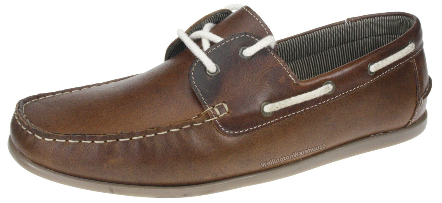 Red Tape Brown Horner Mens Real Leather Moccasin Boat Deck Shoes ...