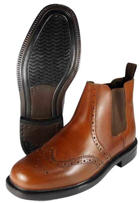 oaktrak mens appleby leather brogue chelsea dealer boots