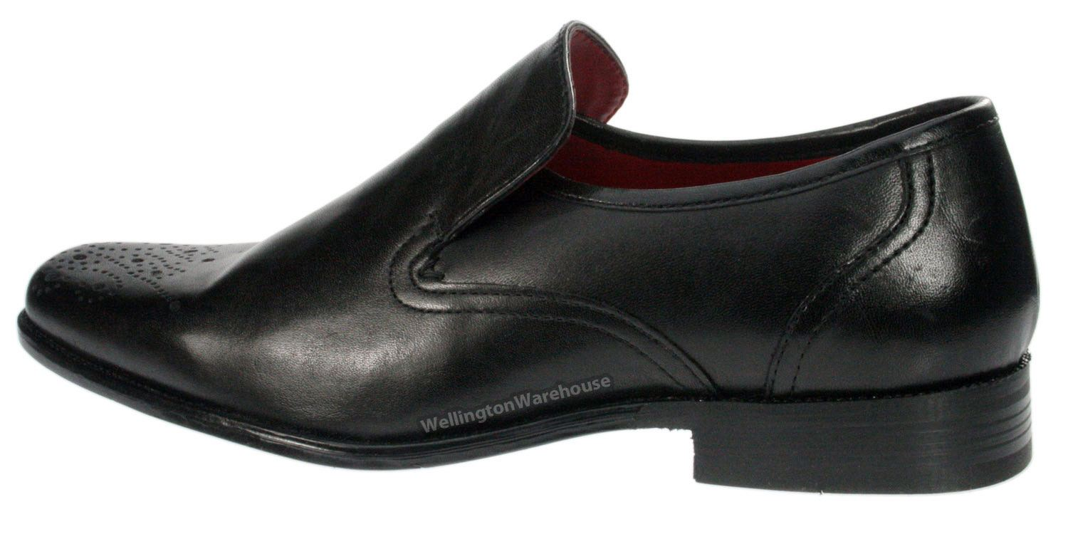 ribble real leather brogue slip on shoes square