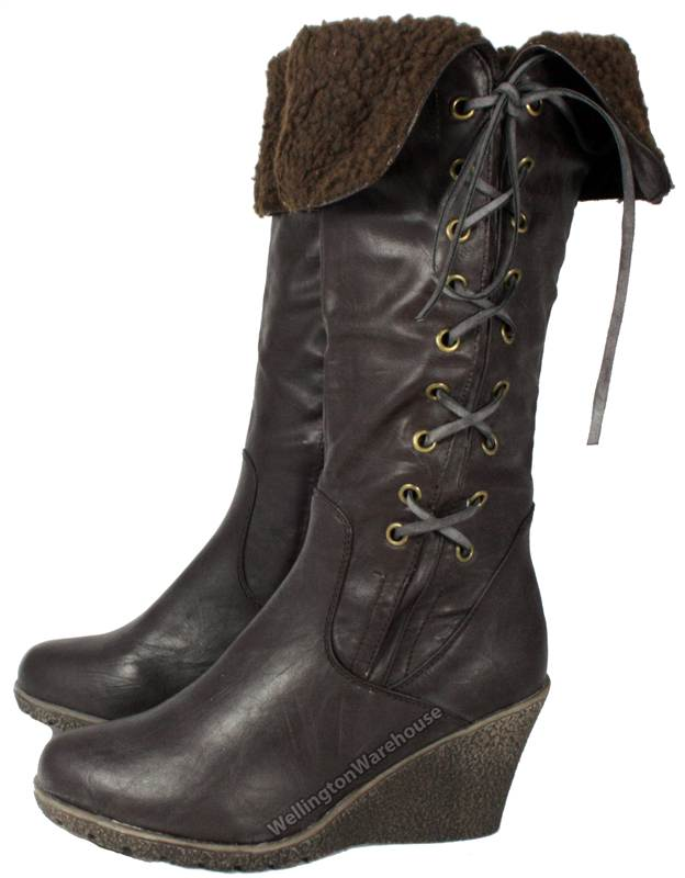 flb610 manfield s black brown wedge heel