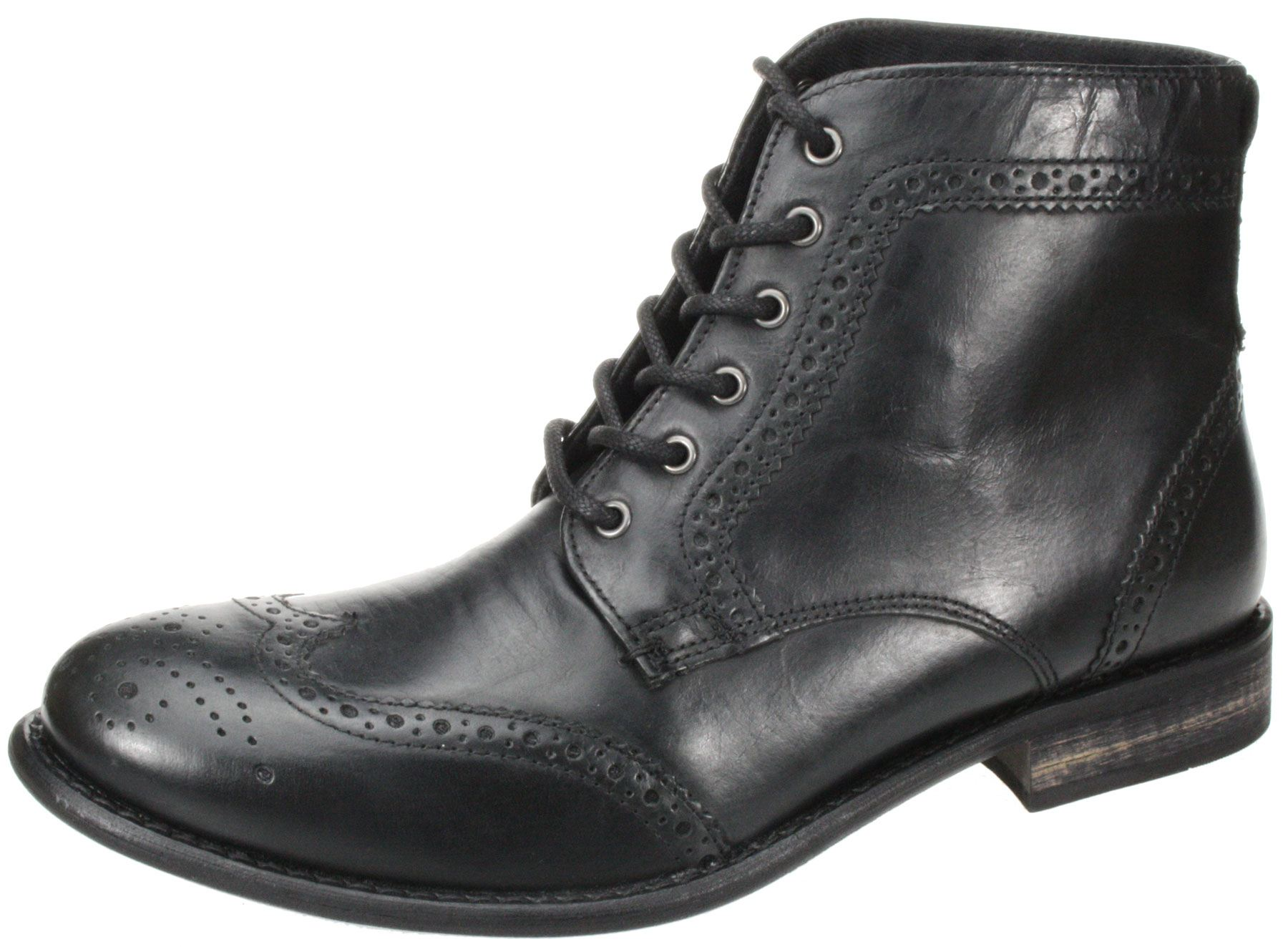 Mens Red tape Nant black brown lace up leather brogue ankle boots