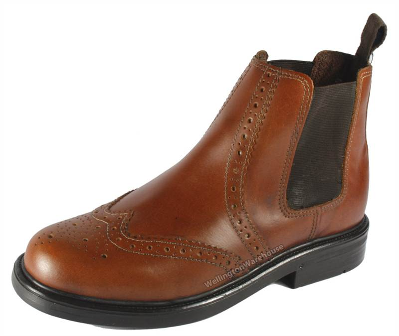Appleby Boys Childs Leather Brogue Pull On Chelsea Dealer Boots ...