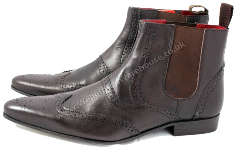 mens leather pointed toe chelsea boots brown pull