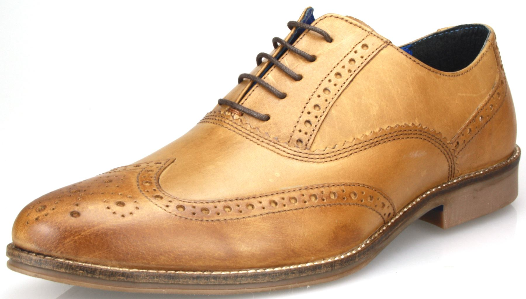 mens leather formal brogues lace up shoes in