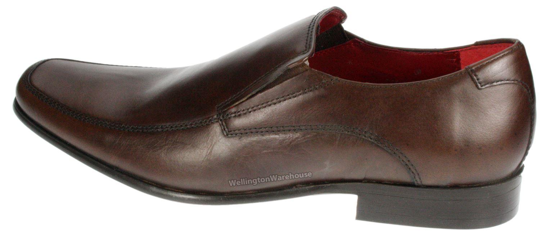 Red Tape Kelty Mens Black Brown Slip On Smart Leather Shoes UK 7 8 9 10 11 12 | EBay