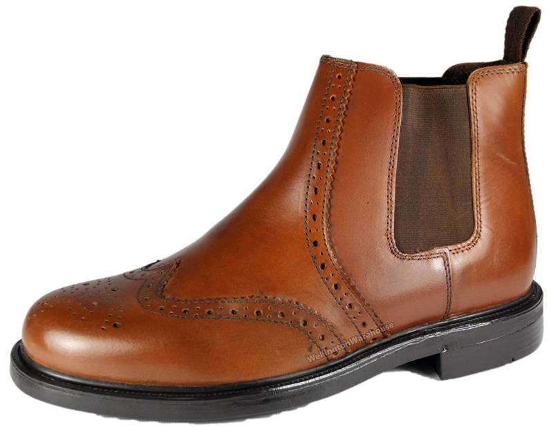 mens chestnut brown oaktrak brogue pull on dealer boots