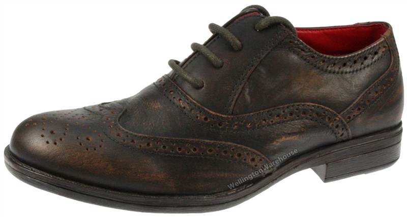 RedTape Black Leather Lowick Brogue Laced Round Toe Shoes