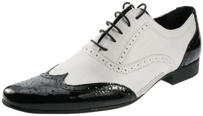 black white leather mens brogue pointed shiny gangster