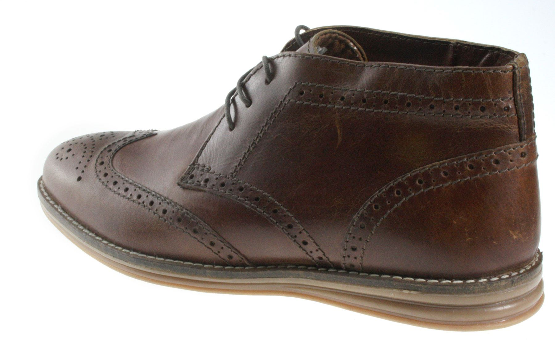 mayo leather brown brogue lace desert ankle boots