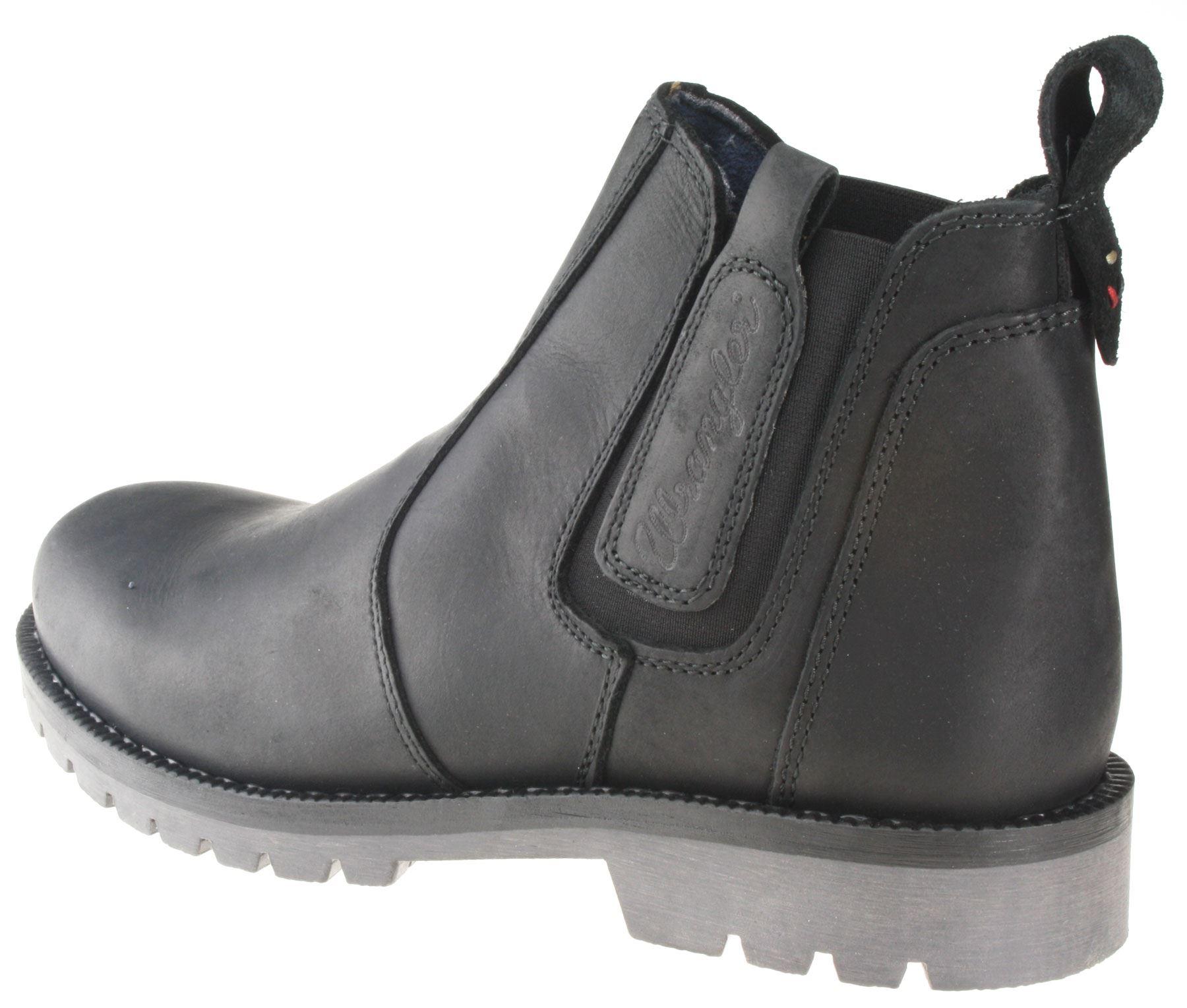 wrangler newton black mens leather pull on chelsea boots