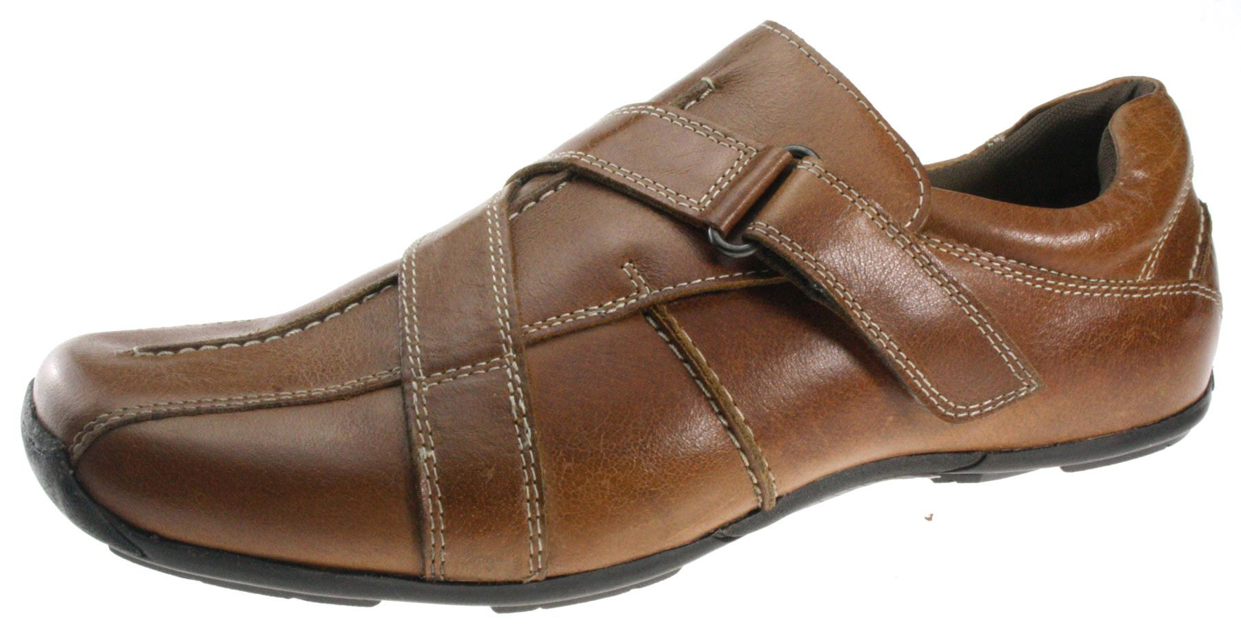 mens madagaskar brown leather velcro casual