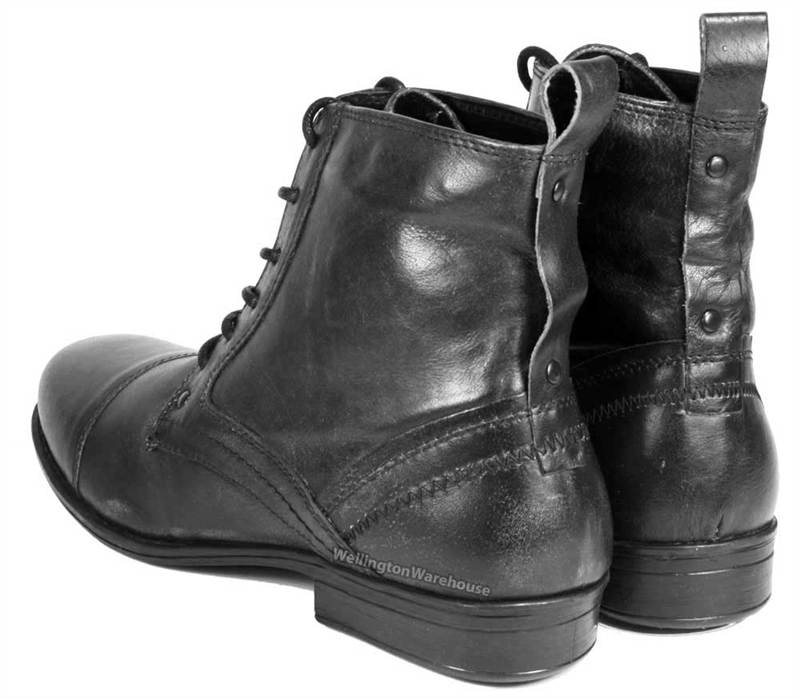 kelso mens leather lace combat army boots black