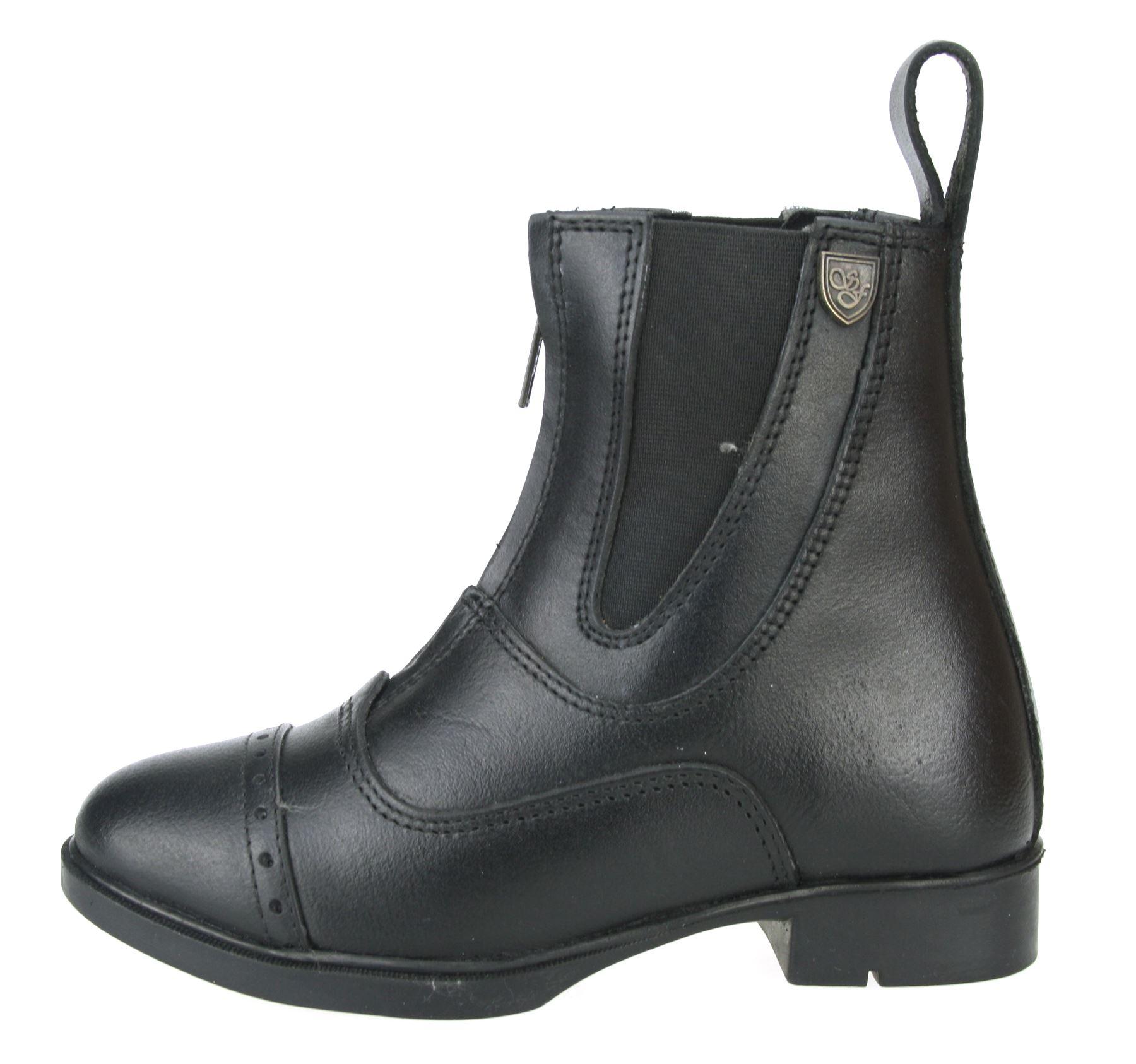 Sherwood Junior Boys Girls Leather Zip Up Brown Black Riding ...