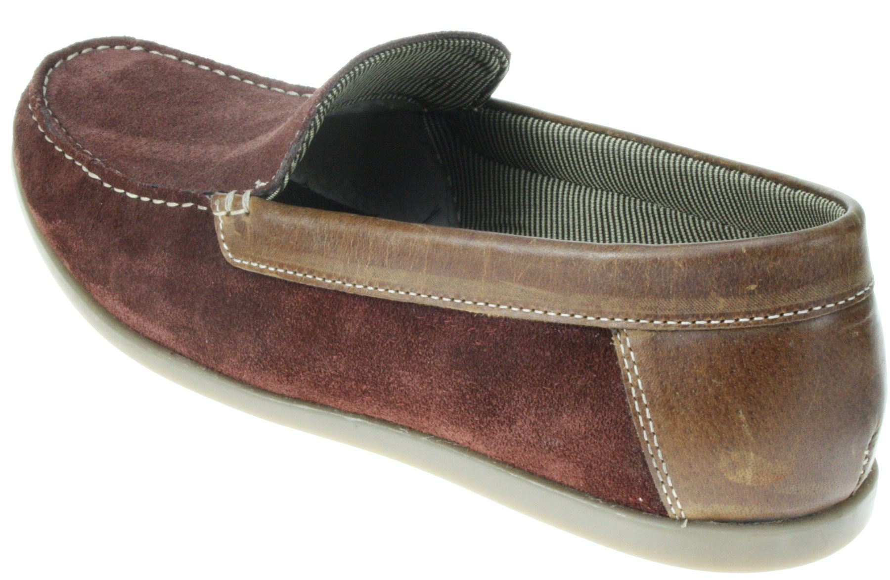 Mens Red Tape Burgundy Brown Slip On Leather Suede Boat