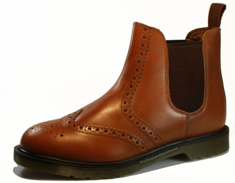 oaktrak mens real leather brogue chelsea pull on dealer