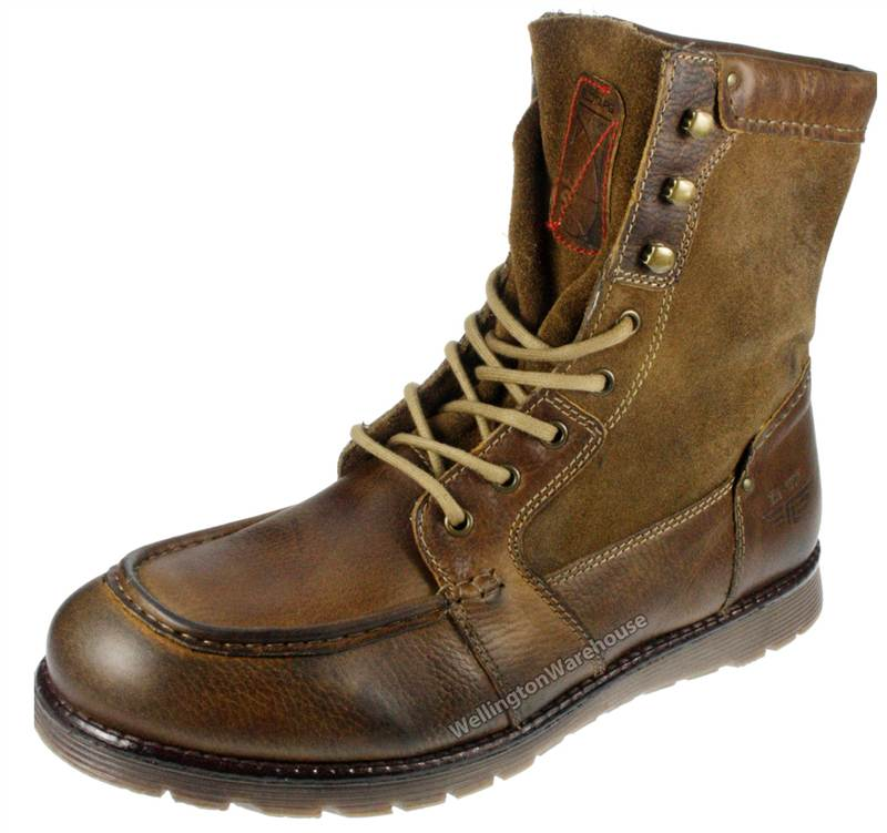 Mens Real Leather and Suede Combat Ankle Army Style Mens Brown ...