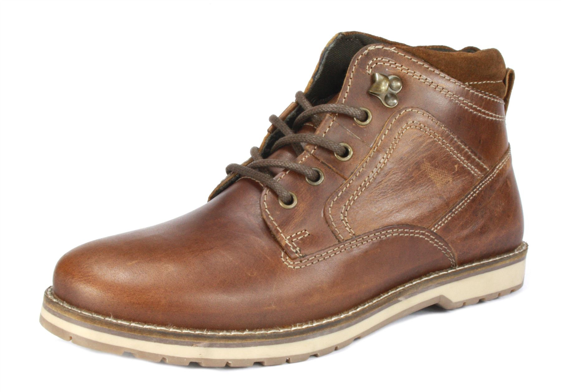 red tape reelan tan brown lace up mens leather casuall