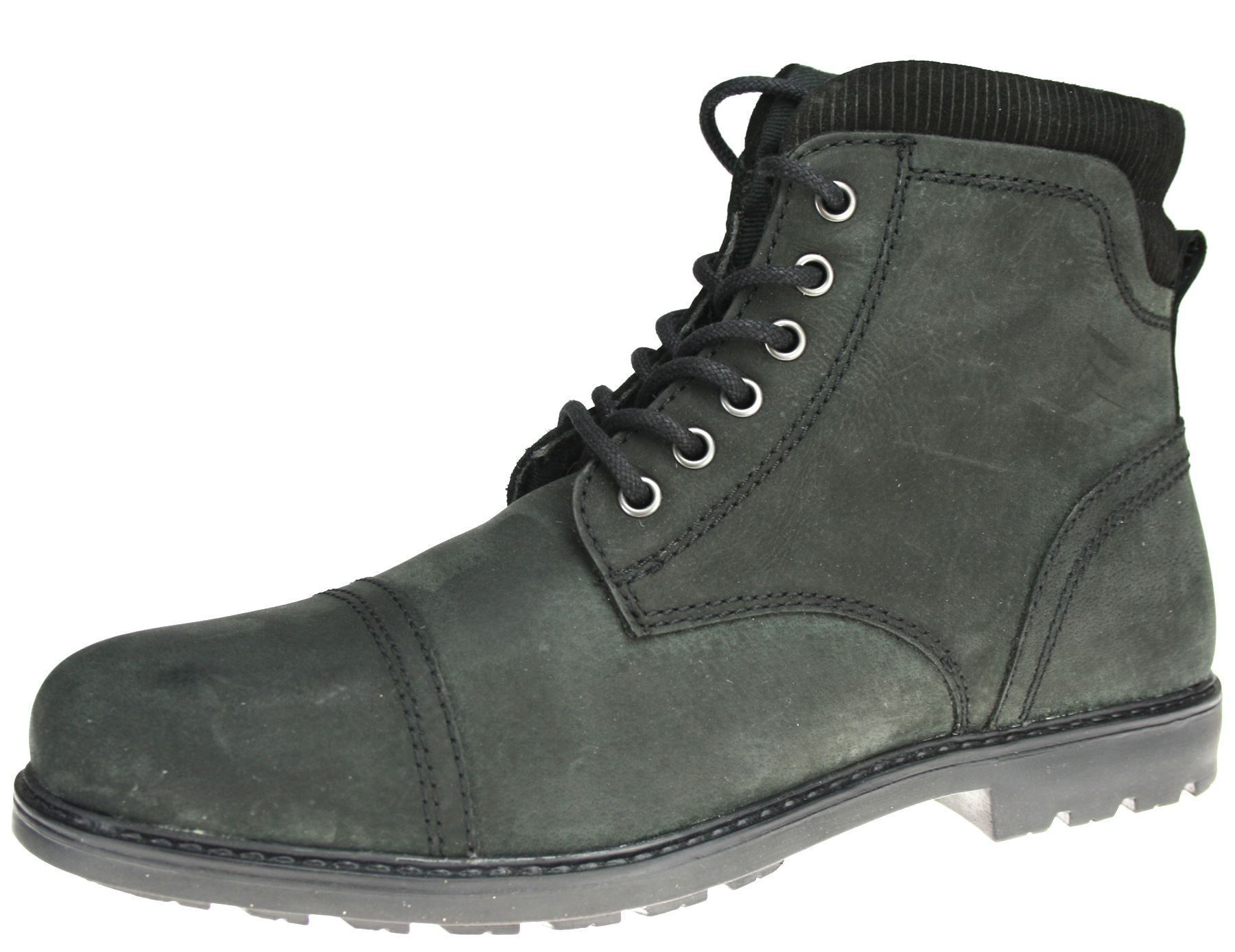 Red Tape mens lace up real leather mens Black ankel boots ...