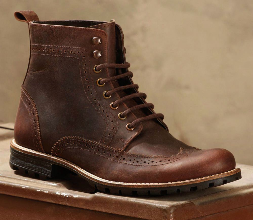 Mens Brown Greasy Leather Brogue Lace Up Casual Smart ...