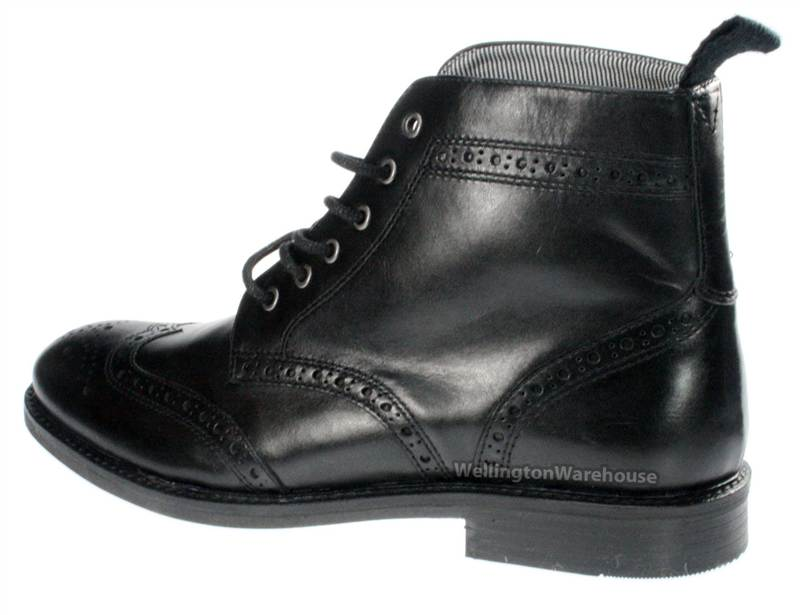 Mens Black Brogue Lace Formal Boots Round Toe Ankle Boots. | eBay