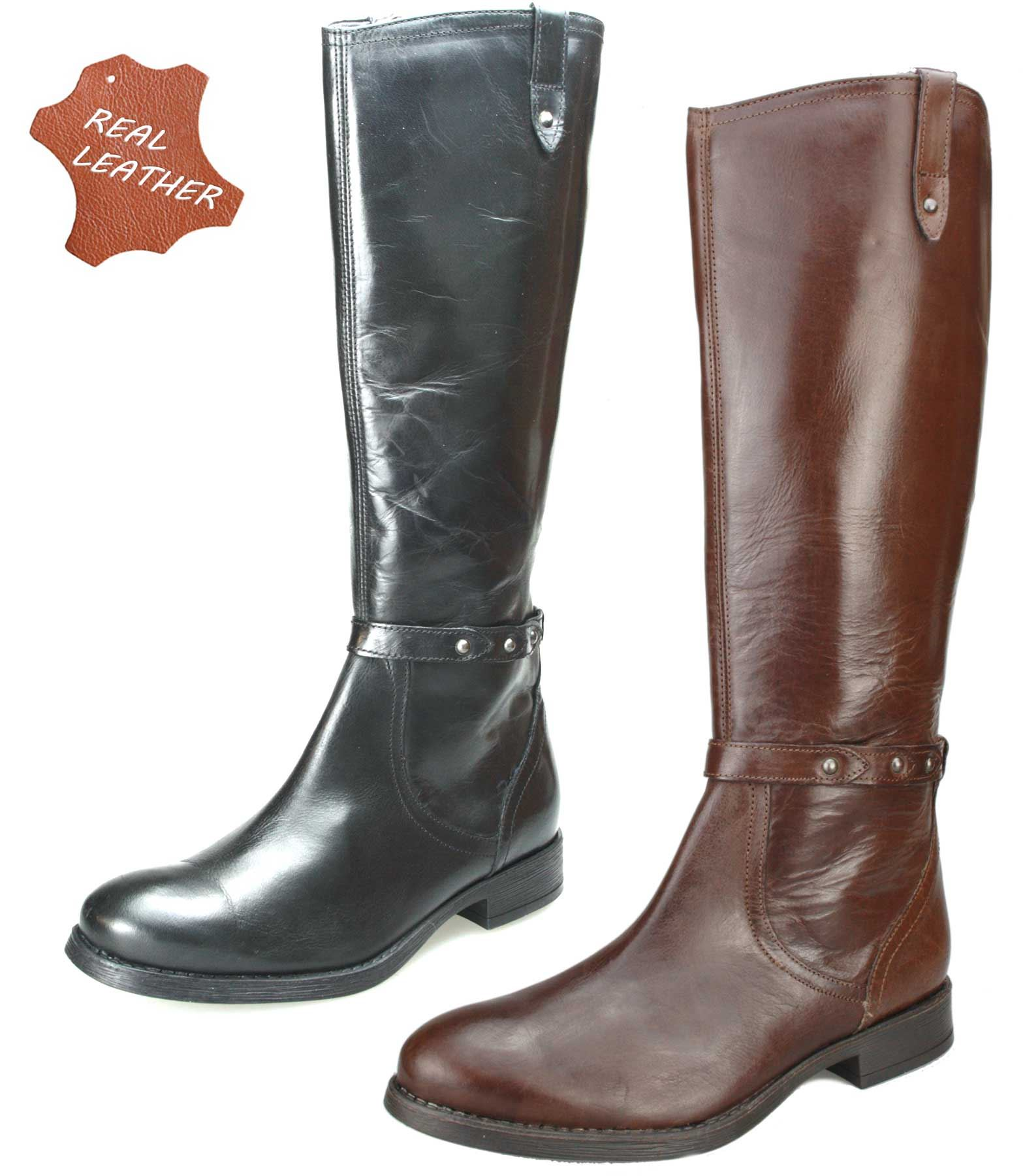 ladies real leather knee high black or brown block heel