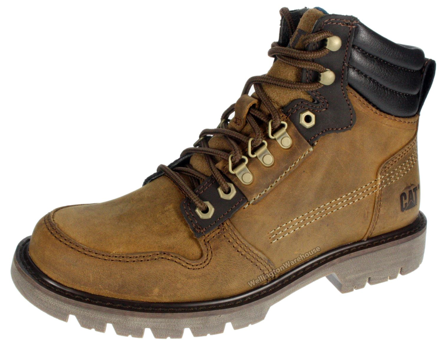 caterpillar cat nelson mens brown leather walking hiking