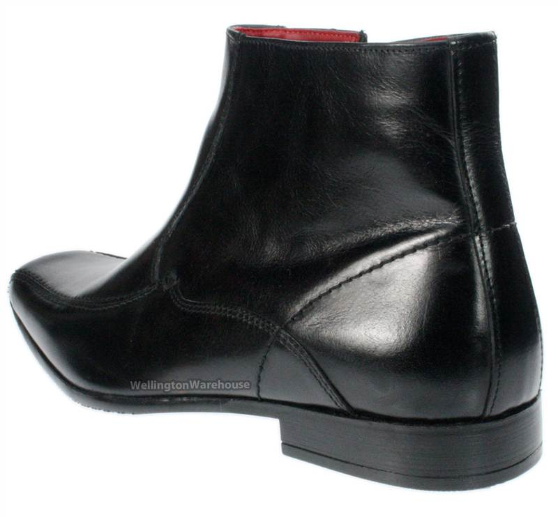 mens brown leather ankle zip up boots square