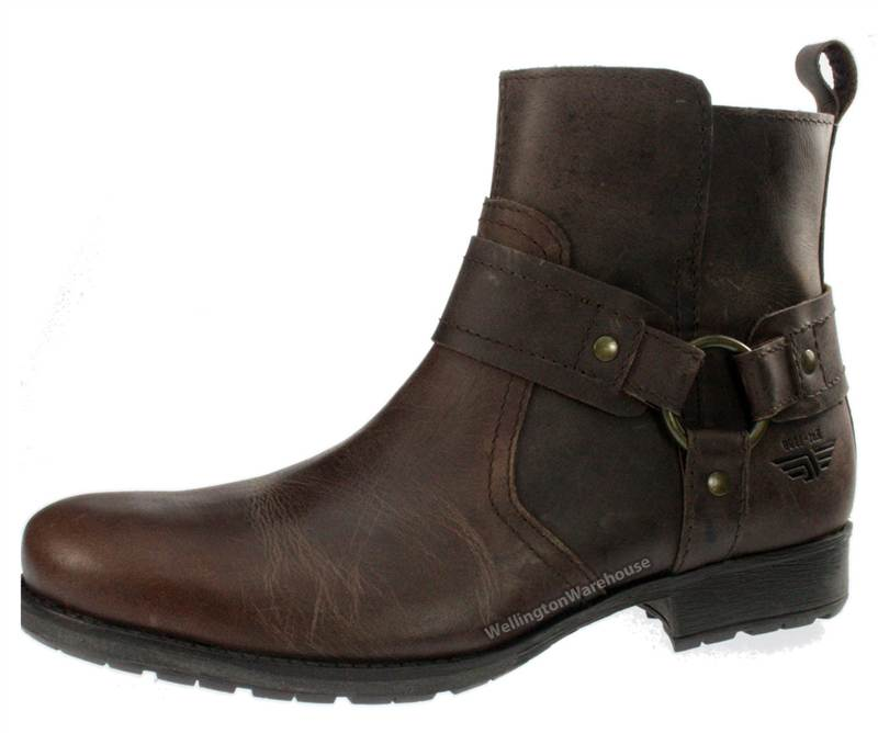 Red Tape Oaktrak Mens Brown Leather Cowboy Zip Pull On Boots | eBay