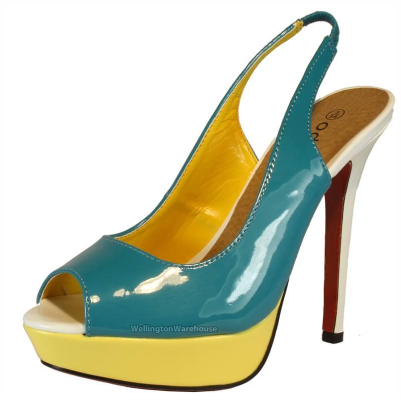 Womens Patent peeptoe slingback high heels coral blue summer shoes ...